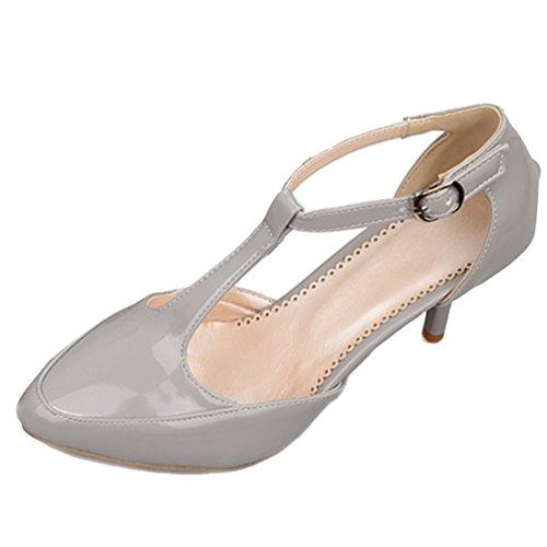 AIYOUMEI Damen T-spangen Spitz Lack knöchelriemchen Pumps mit 7cm Absatz Modern Schuhe Grau