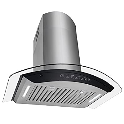 """Golden Vantage 30"""" Wall Mount Stainless Steel Tempered Glass Kitchen Range Hood Vent Cooking Fan LED Display Touch Control Panel"""