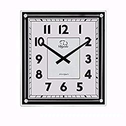 SMC 15.7-inch Modern Non Ticking Silent Quartz Analog Digital Rectangular Ultra Thin Glass Wall Clock