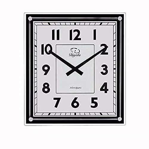 SMC 15.7-inch Modern Non Ticking Silent Quartz Analog Digital Rectangular Ultra Thin Glass Wall Clock