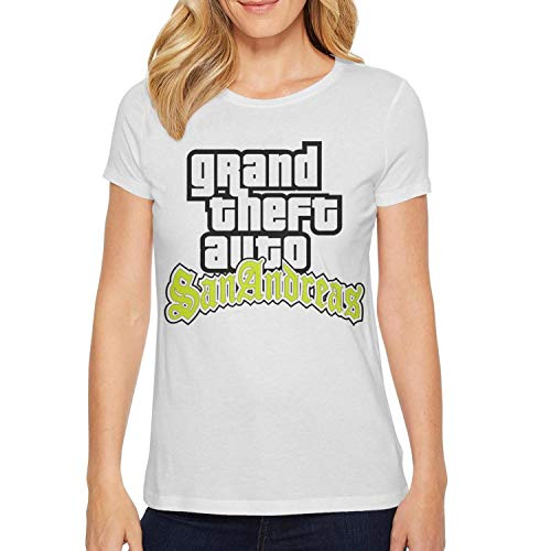 Womens Short Sleeves GTA San Andreas Loose-Fit Shirt for Women Funny Graphic Cool Tee (Gta San Andreas Best Graphics)