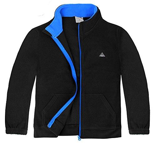 iLoveSIA Big Boy's Spring Warm Full Zip Fleece Jacket US Size S Black+Lake Blue