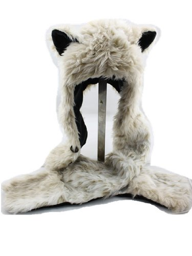 Snow Leopard Faux Fur Hoodie Hat Long Cap with Mittne Scarfs Ears & Paw Print 3 in 1 by -