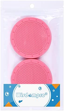 "Car Coasters, Wisdompro 4 Pack PVC Car Cup Holder Insert Coaster - Anti Slip Universal Vehicle Interior Accessories Cup Mats for Women(2.75"" Diameter, Pink)"