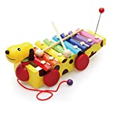 Musical Instrument Baby games toys Wooden Dog Shape like picture