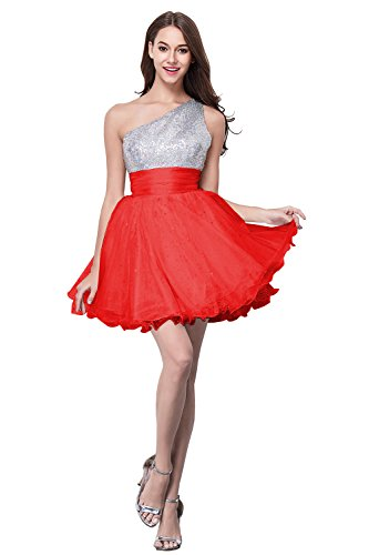 Evening Bead Shoulder Dress Party Cute Short One Red Homecoming Girl's 0q6n0g1I