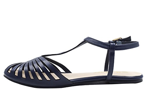 Closed Shoes MaxMuXun Cut Toe Out Navy Women Flat Sandals qIqzwH