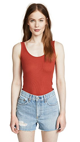 Vince Women's Scoop Neck Tank, Paprika, Small (Tank Rib Womens Vince)
