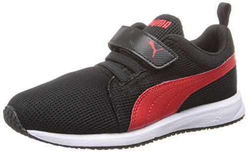 PUMA Carson Runner V Kids Sneaker (Infant/Toddler/Little Kid), Black/High Risk Red, 9.5 M US Toddler