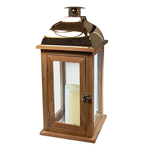 Lumabase 95301 Wooden Lantern with LED Candle, Brown/Copper