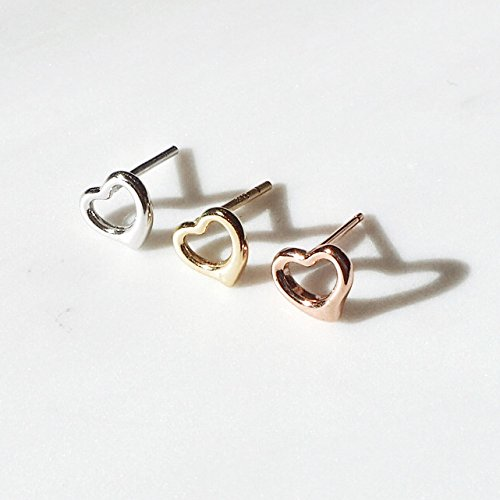Rhodium Plated Sterling Silver Plain Hollow Heart Stud Earrings by Spoil Cupid (Image #2)