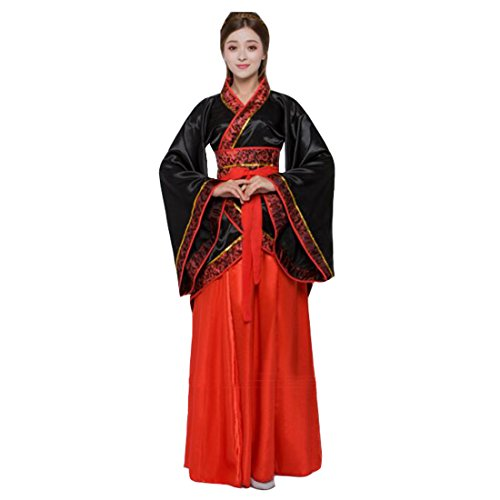 Ez-sofei Women's Ancient Chinese Han Dynasty Traditional Costume Set Hanfu Dresses (L, F-Black&Red)