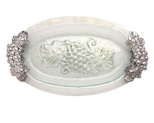 [Arthur Court Grape Glass and Metal Oval Platter, 20-Inch] (Grape Glass Platter)