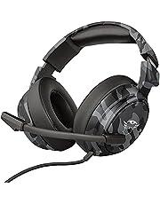 Trust Gaming GXT 433K Pylo Bekväma Over-Ear Spelheadset, Gamingheadset med Extra Stora Öronkuddar med Minnesskum - Kamouflage Svart
