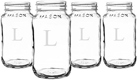 9ed9a0cf5de1 Cathy's Concepts Personalized 16 oz. Mason Jars, Set of 4, Letter L