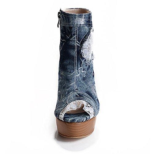 Onlymaker Damen Pumps Stiletto Stiefel High Heels Kurzschaft Stiefelette Boots Schuhe mit Plateau Peep Toe Denim Denim