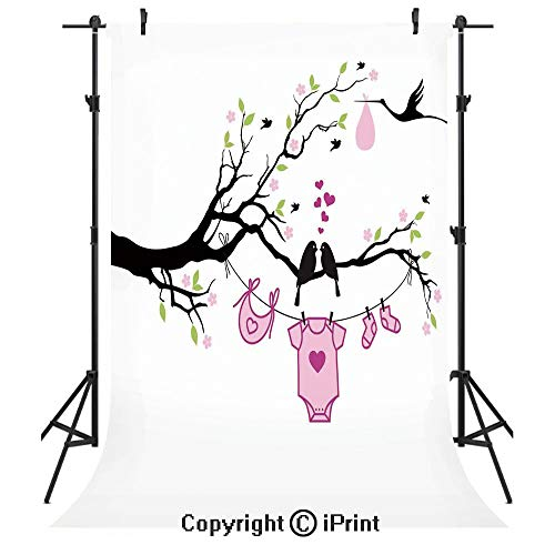 (Gender Reveal Decorations Photography Backdrops,Newborn Girl Announcement with Birds on Branch Hearts Love,Birthday Party Seamless Photo Studio Booth Background Banner 6x9ft,Pink Lime Black)