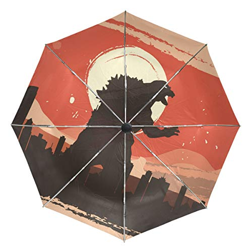 MONTOJ Rage Godzilla in City Sun&Rain Travel?Umbrella UV?Protection with Auto Open -