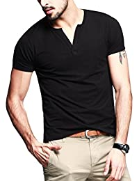 Neonysweets Mens Cotton T-shirts V Neck Short Sleeve Base Tee
