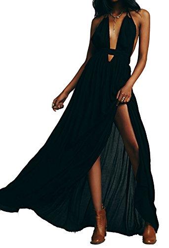 R.Vivimos® Women Summer Deep V Neck Sexy Sleeveless Long Dress Medium Black (Plus Size Fairy Dress)