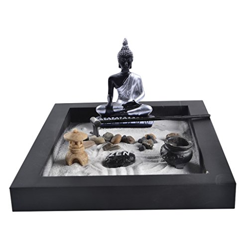 MagiDeal Zen Garden Sand Kit Tabletop Decor Meditation Sand Rocks Rake Feng Shui Decor - as picture show, 24.319.611.5cm by MagiDeal