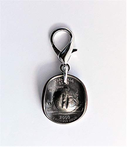 Cowgirl Cowboy Hat Purse Charm Bag Clip U.S. State Quarter Coin Virginia Keychain Key Ring ()