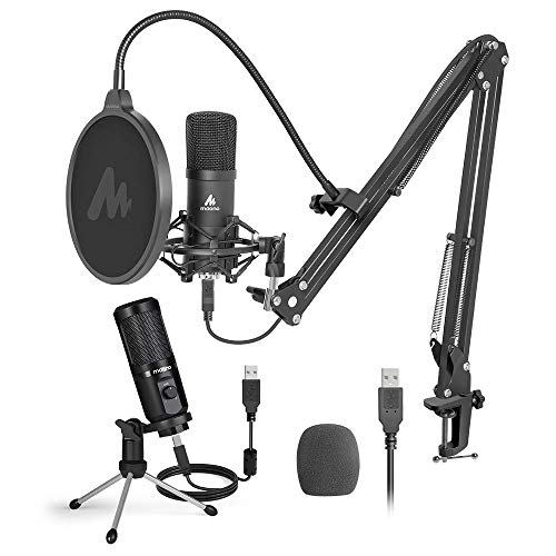 USB Microphone kit MAONO Cardioid Condenser Computer Microphone with Mic Gain for Gaming, Recording, Streaming, Podcasting, Voice Over, YouTube, Twitch, Skype, PC, Laptop, Desktop, PM461TR, A04