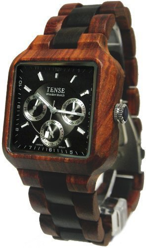 Tense Multi Eyed Mens All Wood Watch Square Two Tone B7305RD-B