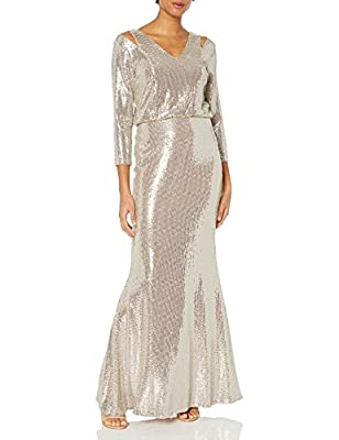 Calvin Klein Women's Long Sleeve Blouson Gown with Shoulder Cut Outs