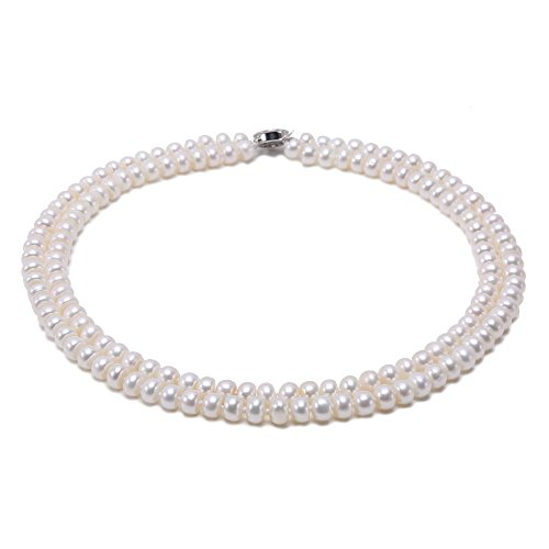 JYX Classic Double-Row Flatly Round White Freshwater Cultured Pearl Necklace ()