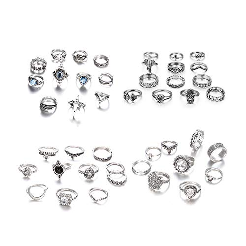KAMRESH 44 Pcs Vintage Womens Knuckle Rings for Girls Stackable Midi Joint Finger Ring Set Hollow Carved Flowers