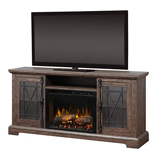 DIMPLEX Electric Fireplace, TV Stand, Media Console, Space Heater and Entertainment Center with Natural Log Set in Elm Brown Finish - Natalie #GDS26L8-1871EB