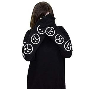 TINGSU - Sudadera para mujer con cara trenzada de emoticono en la parte superior, algodón, pantalones ajustados y pantalones vaqueros a juego Small negro: ...