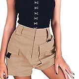 TIFENNY Women Casual Shorts Summer Fashion High Waist Pants Elastic Waist Bottoms Pocket
