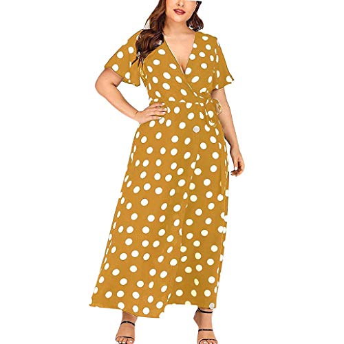 Tantisy ♣↭♣ Plus Size Short Sleeves Wrap V Neck Belted Empire Waist Asymmetrical High Low Bohemian Party Maxi Dress Yellow