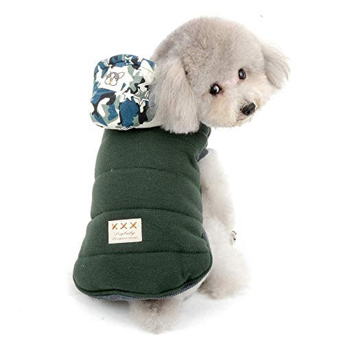 RSHSJCZZY Dog Winter Fleece Hoodie Coat Camouflage Boys Small Dog Warm Soft Down Jacket -