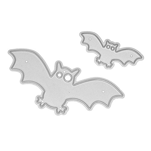 Cutting Dies,Pollyhb Metal Cutting Dies Stencils Scrapbooking Embossing DIY Crafts,Happy Halloween Bat Skull Witch Grim Reaper Pumpkin Bird Cross Elephant,for Card Making (A:58.7x43.3mm -