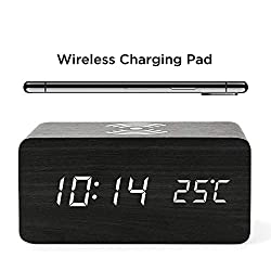 Wooden Alarm Clock with Wireless Charging Wood LED Digital Clock, Time and Temperature Display for Bedroom