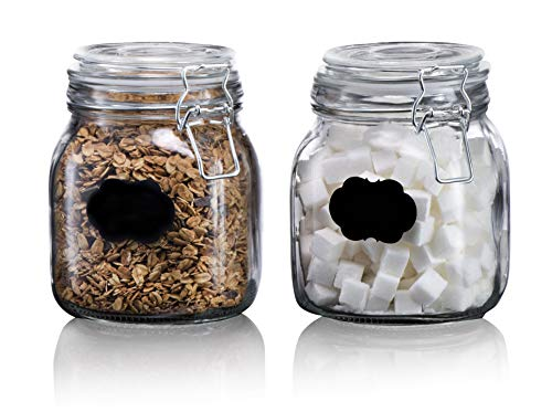 Klikel Square Glass Kitchen Storage Canister Jars - Chalkboard Canister Set - Crystal Clear Food Storage Jars with Clear Lid and Bail & Trigger Hermetic Seal - 32oz, (Set of 2)