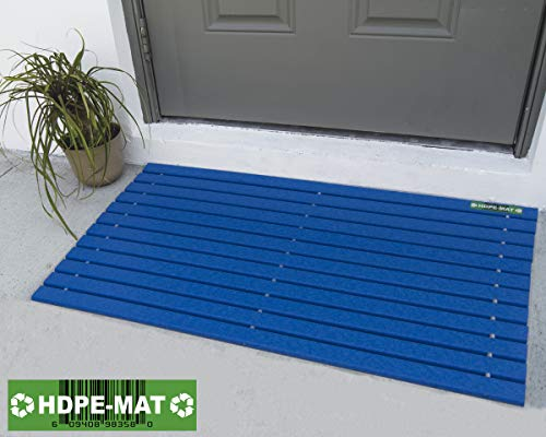 HDPE-MAT UV Resistant Heavy Duty Waterproof Front Door Mat | Stylish Handcrafted Recycled Plastic Poly Lumber Slats - Eco Friendly for Outdoor Entrance Patio Garage Entry (Pacific Blue)