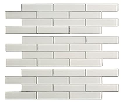 Aspect Peel and Stick Backsplash 12 5in x 4in Subway Frost Matted Glass  Tile for Kitchen and Bathrooms (3-Pack)
