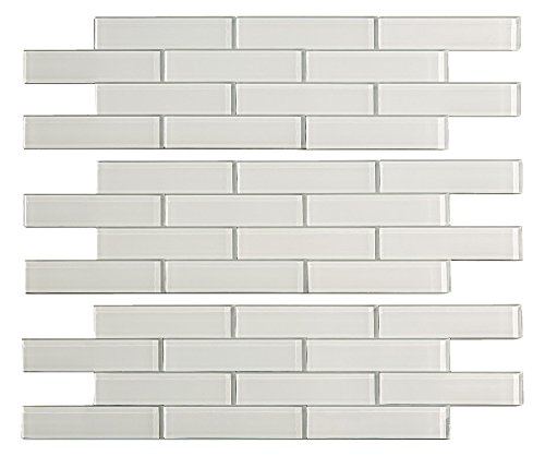 (Aspect Peel and Stick Backsplash 12.5in x 4in Subway Frost Matted Glass Tile for Kitchen and Bathrooms (3-Pack))