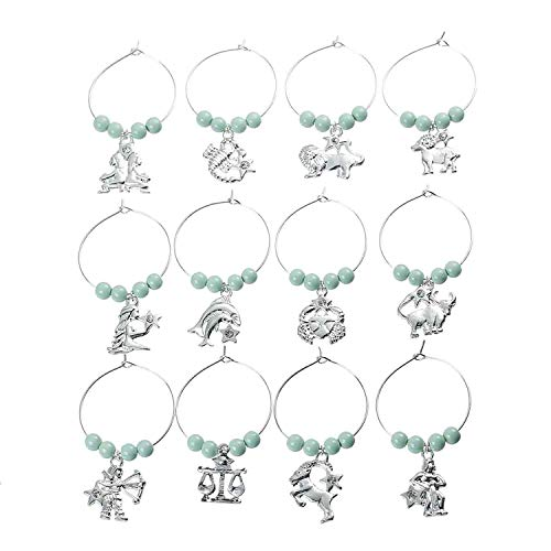 Set of 12 Zodiac with Turquoise stones wine glass charms
