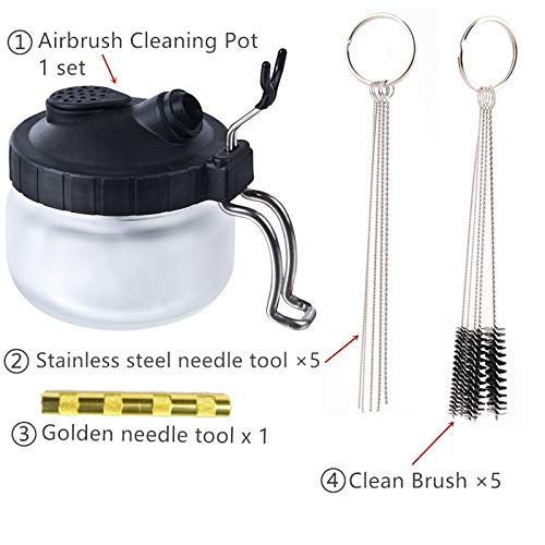 Hot Airbrush Cleaning Pot Stabilizer Bottles Holder Paint Station Glass Jar Bottles Filter Frosted Spray Gun Cleaner Tools Set As picture Set A2