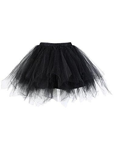 Bubble Run Costumes (Satinior Vintage Petticoat Crinolines Tutu Ballet Bubble Skirts Adult Tulle Skirt (S - M Size, Black))