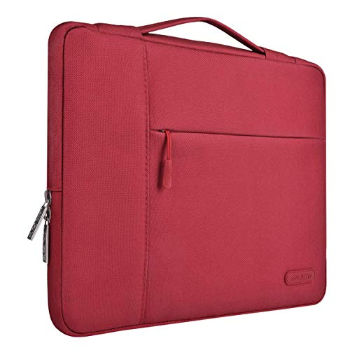 MOSISO Laptop Briefcase Handbag Compatible 13-13.3 Inch MacBook Air, MacBook Pro, Notebook Computer, Polyester Multifunctional Carrying Sleeve Case Cover Bag, Red