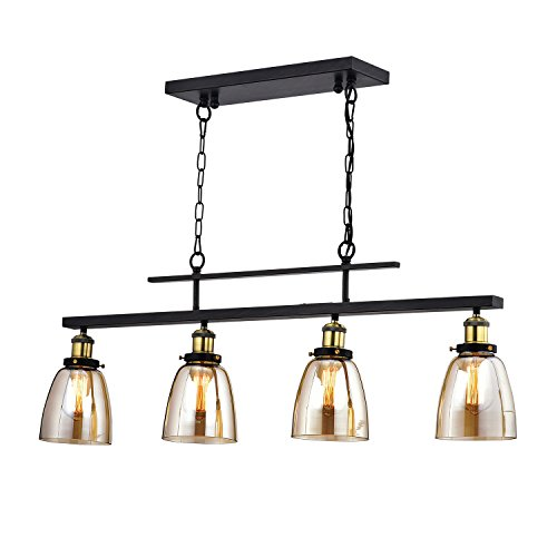 Edvivi 4-Light Antique Black Amber Glass Downlight Linear Chandelier Ceiling Fixture | Industrial Lighting
