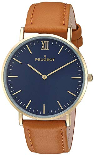 Peugeot Men's 14K Gold Plated Analog-Quartz Watch with Leather-Calfskin Strap, Brown, 20 (Model: 2050BL) ()