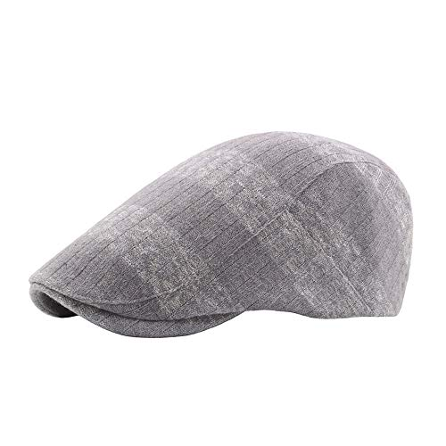 (L.W.SUSL Summer Beret Caps for Men Women Vintage News boy Cap Cabbie Gatsby Linen Outdoor Brand Sun Hat Unisex (Color : Gray, Size : 56-58CM) )