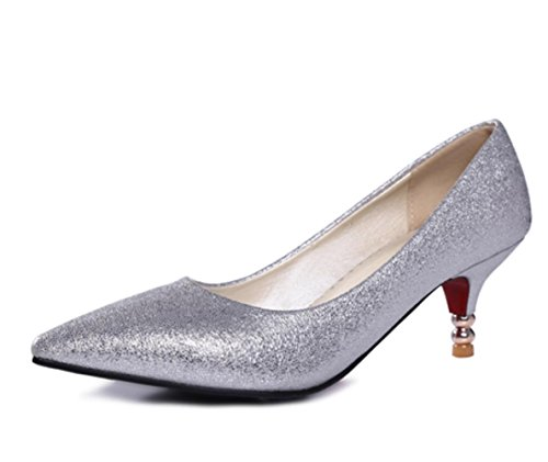 YCMDM Women's Heels Spring Summer Fall Comfort Novelty Patent Leather Leatherette Wedding Office & Career Dress Casual Party & Evening Low Heel , silver , us8 / eu39 / uk6 / cn39